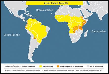 Zona afectada por Fiebre Amarilla en África y América del Sur
